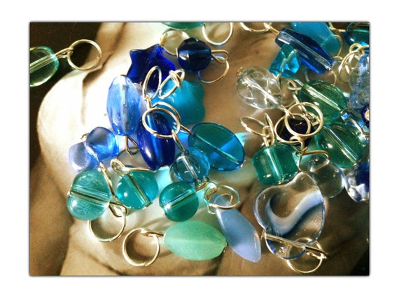 Stitch Markers -BLUE BOP GLASS