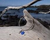 Blue Glass Heart and Silver Mermaid Charm dangle  bangle bracelet.