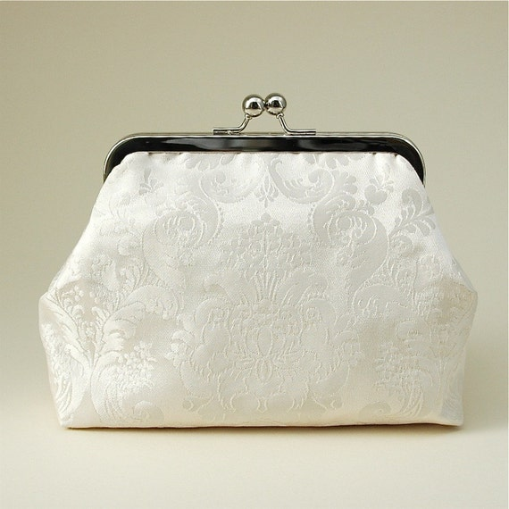 Ivory Silk Brocade Bridal Clutch Bag With Gold Silk Lining