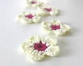 Ivory, Burgundy,  Fairytale, Crochet Flowers, 5 pieces