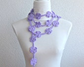 Crochet Lariat,  Scarf, Flower Laria,t Scarf Long Necklace Holiday Accessories, Lilac, Purple, Amethyst,   Harvest, Spring, Summer,