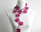 Crochet Lariat,  Scarf, Flower Laria,t Scarf Long Necklace Holiday Accessories, Magenta, Pink,   Harvest, Spring, Summer,
