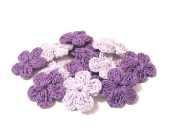 12-pieces Fairytale Crochet Flowers Lilac Purple