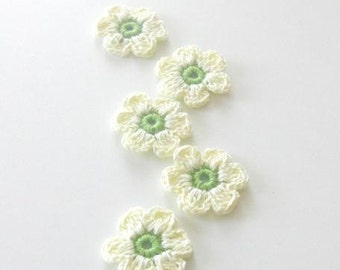 Ivory, Green  Fairytale Crochet Flowers, 5 pieces
