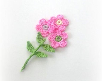 Pink and  Green  Fairytale Crochet Flowers, 4 pieces