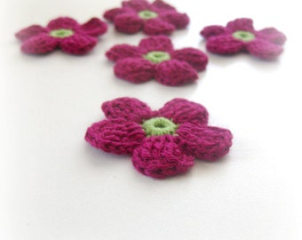 Crochet Flowers, 5 pieces Burgundy and Green Fairytale Supplies Handmade