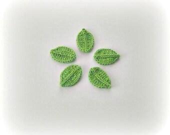 5 Crochet leaves Green. Leaves,