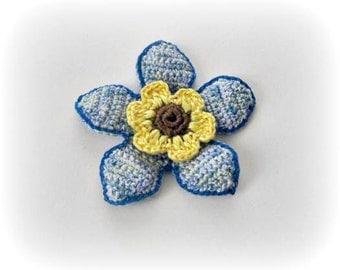 Blue, Aqua, Yellow, Brown,  Crochet Flower,  Crochet, 3 D flower, Applique, Spring, Mothers day, Summer