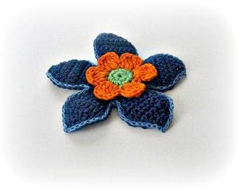 Blue, Marine, Orange, Green,  Crochet Flower,  Crochet, 3 D flower, Applique, Spring, Mothers day, Summer
