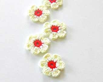 Ivory, Red  Fairytale Crochet Flowers, 5 pieces