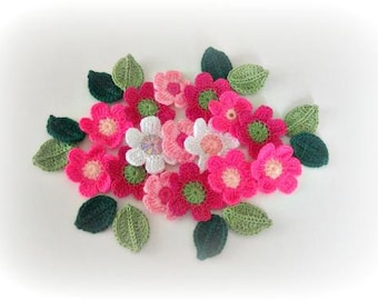 Crochet Flowers, 27 pieces, Fairytale,  Crochet Flowers and Leaves, Pink, Salmon, Magenta, Olive, Green, Taupe, Spring,