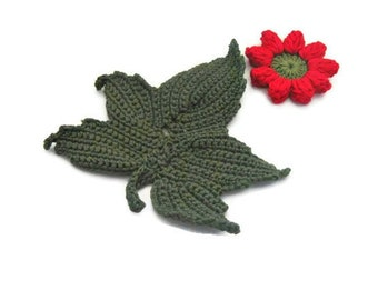 Crochet Flower,  Crochet, Red flower with leaves, Applique, Spring, Mothers day, Summer