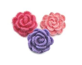 3 D  Crochet Flower, Pink, Lilac, 3 Dimensional Flower, Shabby, Applique, Spring,