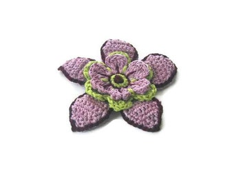 Lilac Crochet Flower,  Crochet, 3 D flower, Applique, Spring, Mothers day, Summer