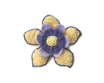 Cream, Beige, Purple, Lilac Crochet Flower,  Crochet, 3 D flower, Applique, Spring, Mothers day, Summer