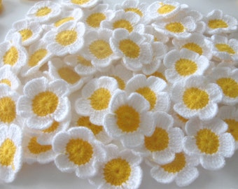 Crochet Flowers, 10 pieces , Daisy, White, Yellow, handmade, supplies, sweet flowers, spring