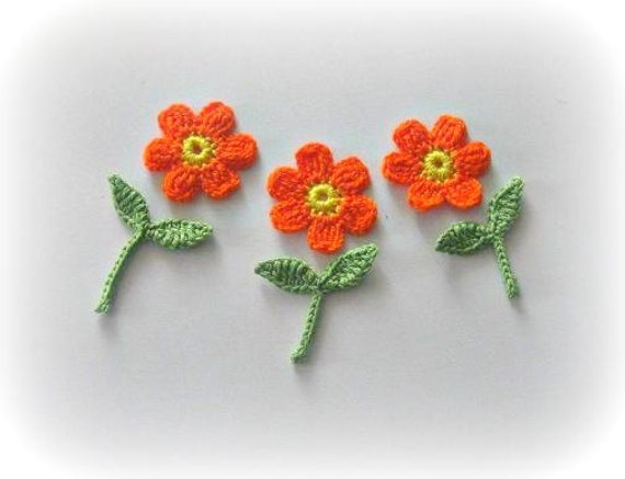 Orange, Yellow and  Green,  Fairytale, Crochet Flowers,6 pieces, Spring set