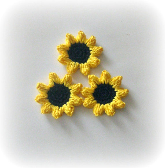 Organic Cotton Crochet Flower Applique, Yellow, Black, Spring, Summer, Sunflower