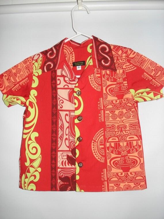 Kids Hawaiian Print Aloha Shirt Small