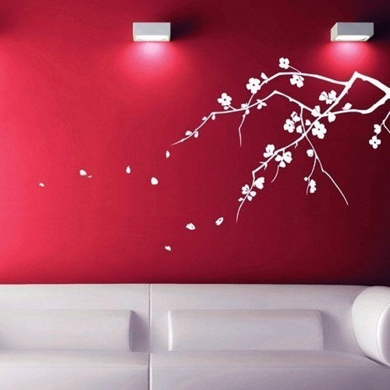 Cherry Blossoms (Mono Colour) - Large Vinyl Wall Decal