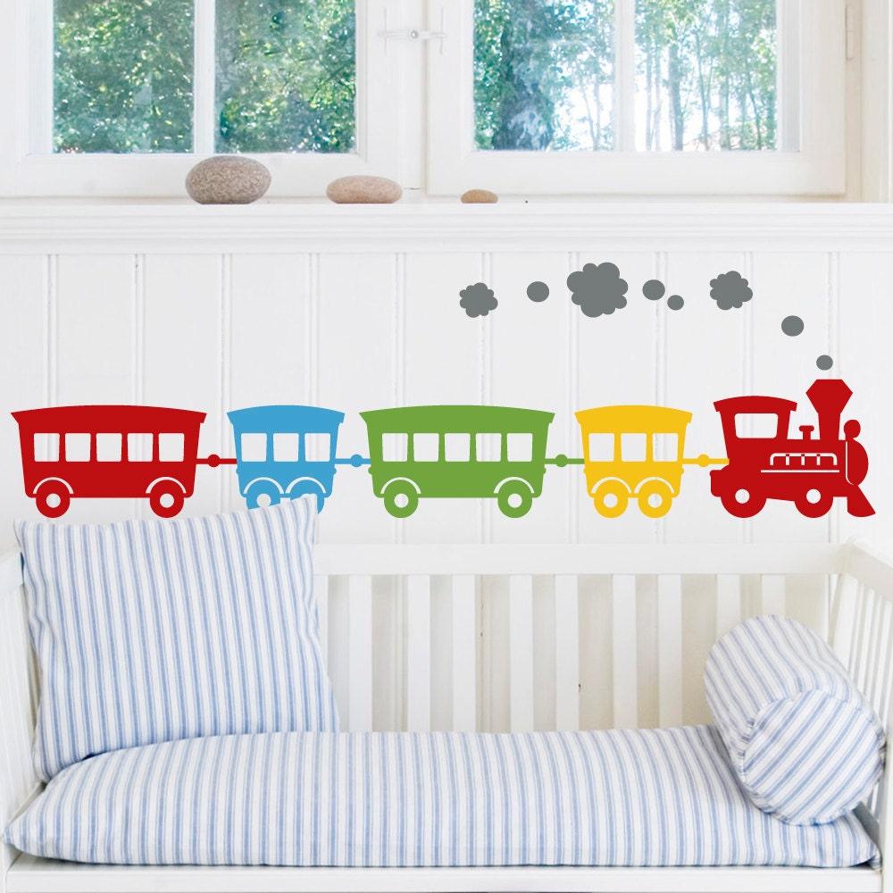 Choochoo boys vinyl train wall decals set of 5 for Stickers pared bebe
