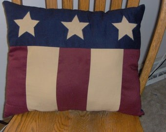 Primitive Americana pillow with appliqued stars 14  x 16 inches  Patriotic