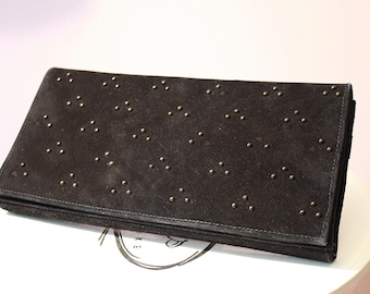 Vintage Black Leather Purse: Beaded Calf Suede Clutch Handbag by Trathen