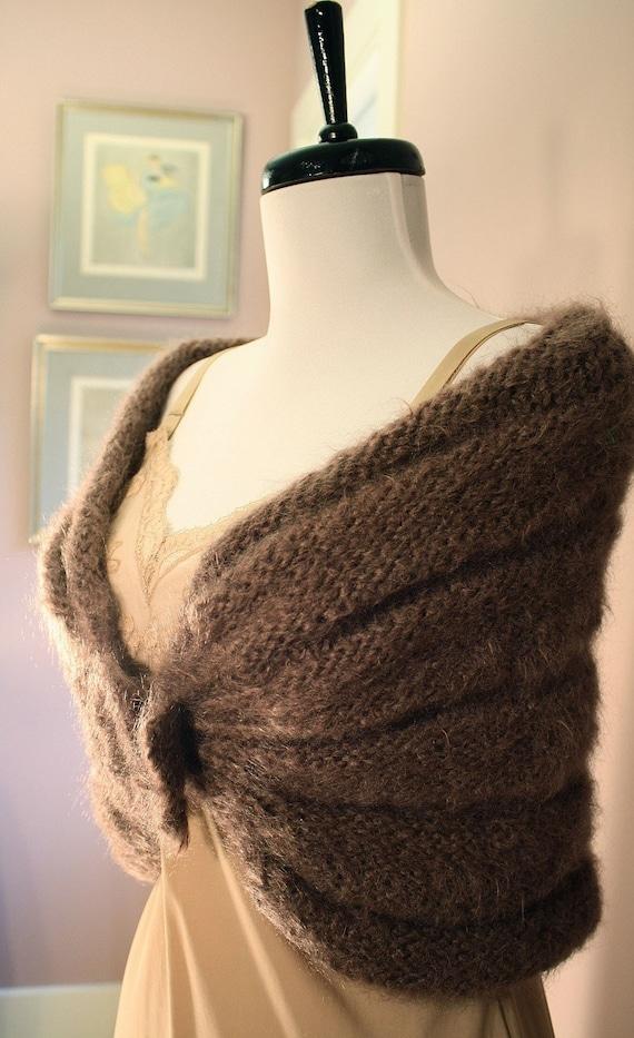 Wool Wrap: Vintage Handmade Knitted Shawl Shrug w Buckle M L