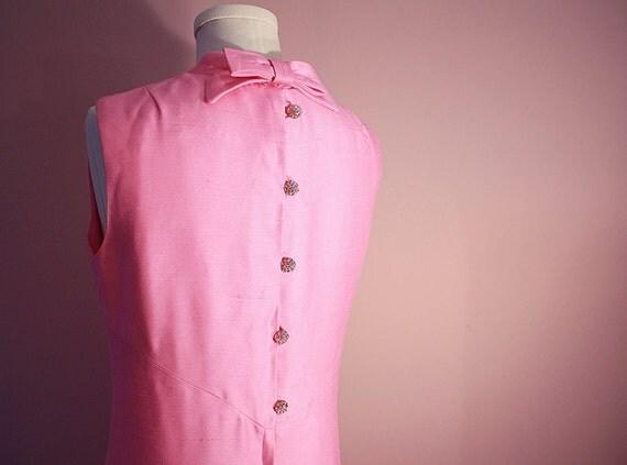 60s Pink Cocktail Dress: Mod Leslie Fay Rhinestone Button Party Dress 10 12 M L