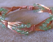 Green Bead & Copper Arrowhead Bracelet