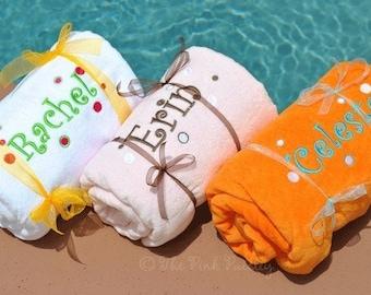 Monogram Beach Towel | Fun Dot Beach Towel | Personalized Towel