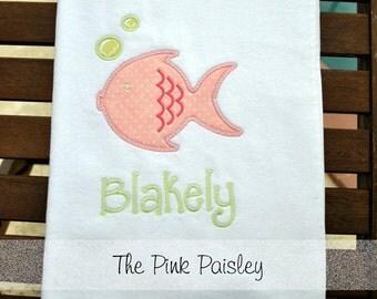 Personalized Kids Beach Towel | Kids Beach Towel | Little Girl Beach Towel | Boy Beach Towel | Little Fishy Design