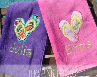 Flip Flops Applique beach towel