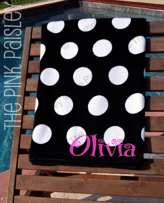 Monogram Polka Dot Beach Towel Personalized Beach Towel