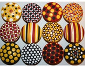 Red, Black, White and Yellow Polka Dot and Striped Knobs