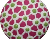 Criss Cross Pink with White and Green Polka Dots Dresser Drawer Knobs