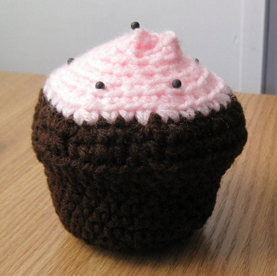 Cupcake Pin Cushion - Chocolate with Strawberry Frosting
