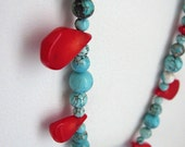 Red Coral and Turquoise Ribbon Tie Necklace