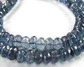 "Superb AA Large Mystic Blue Quartz rondelles, 3.25"" inch strand, 16 LARGE 8mm beads LAST ONe"