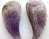 Amethyst carved Wings PAIR, 2 LARGE pieces, 30.5 x 14.75mm (1ejja1)