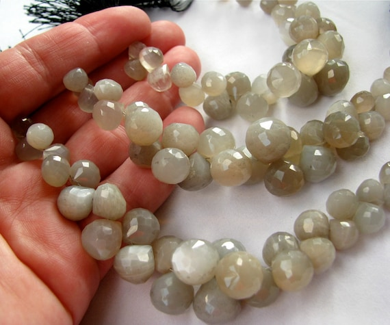 SALE Gray Moonstone faceted onion briolettes, 15 gemstone beads 7.4mm - 13.9mm REDUCED was 26.50 (mo1-2)