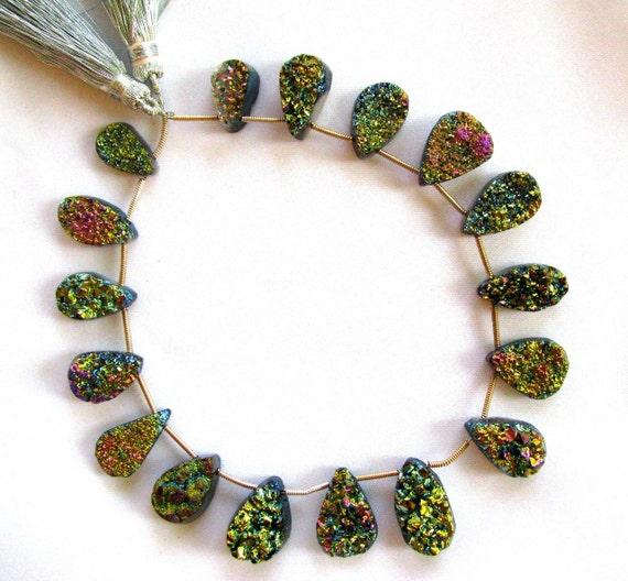 Titanium Drusy Druzy pear focal pendant, 1 bead your choice, 13-19mm, Super vibrant colors (tdpg3)