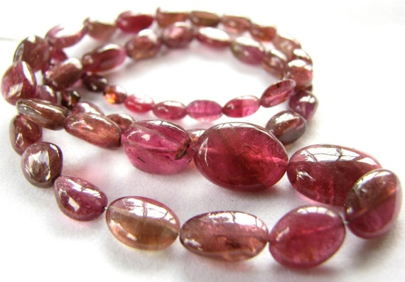 "Pink Tourmaline smooth oval nuggets, 8"" inch strand, 28 beads 5.5mm - 10mm (wpto2)"