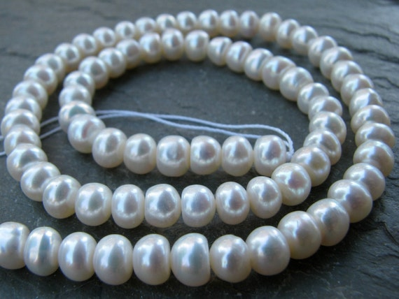 """Natural White Freshwater Button Pearls, FULL 15"""" inch strand, 6.25mm"""