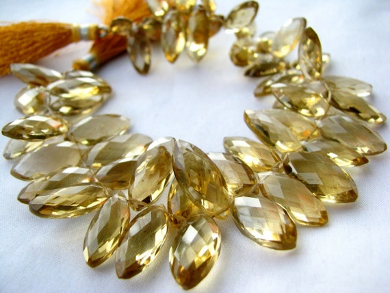 """AA Honey Quartz faceted Marquise Briolette, 8"""" inch FULL strand, 50 LARGE gemstone beads, 15mm - 18.5mm LaST ONe (whm3-3)"""