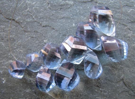 Blue Violet Mystic Quartz fancy twisted briolettes, 10 beads, 7.9mm - 15.25mm (mt1)