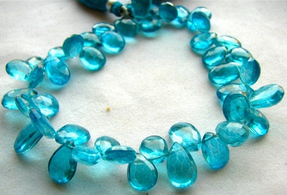 """Vivid Neon Swiss Blue Mystic Quartz faceted pear Briolettes, 8"""" FULL strand 44 pieces, 10.25mm - 13.50mm ONLY ONE (11w96)"""