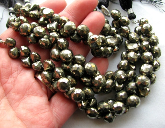 Natural Gold Pyrite Faceted Onion Briolettes, 10 large beads, 7-8mm (11w162)