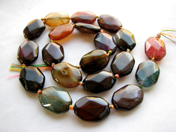 Multi Color Crackle Agate smooth fancy beads with unique cut, 10 LARGE pieces 18mm (12esf1)