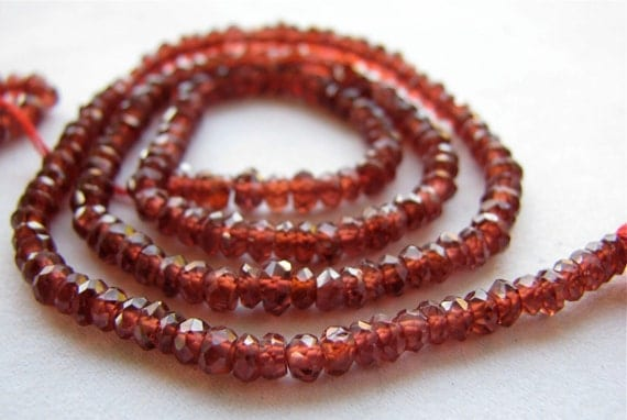 "Mozambique Garnet faceted rondelles, 13.75"" FULL strand, 3.25mm (228k8)"
